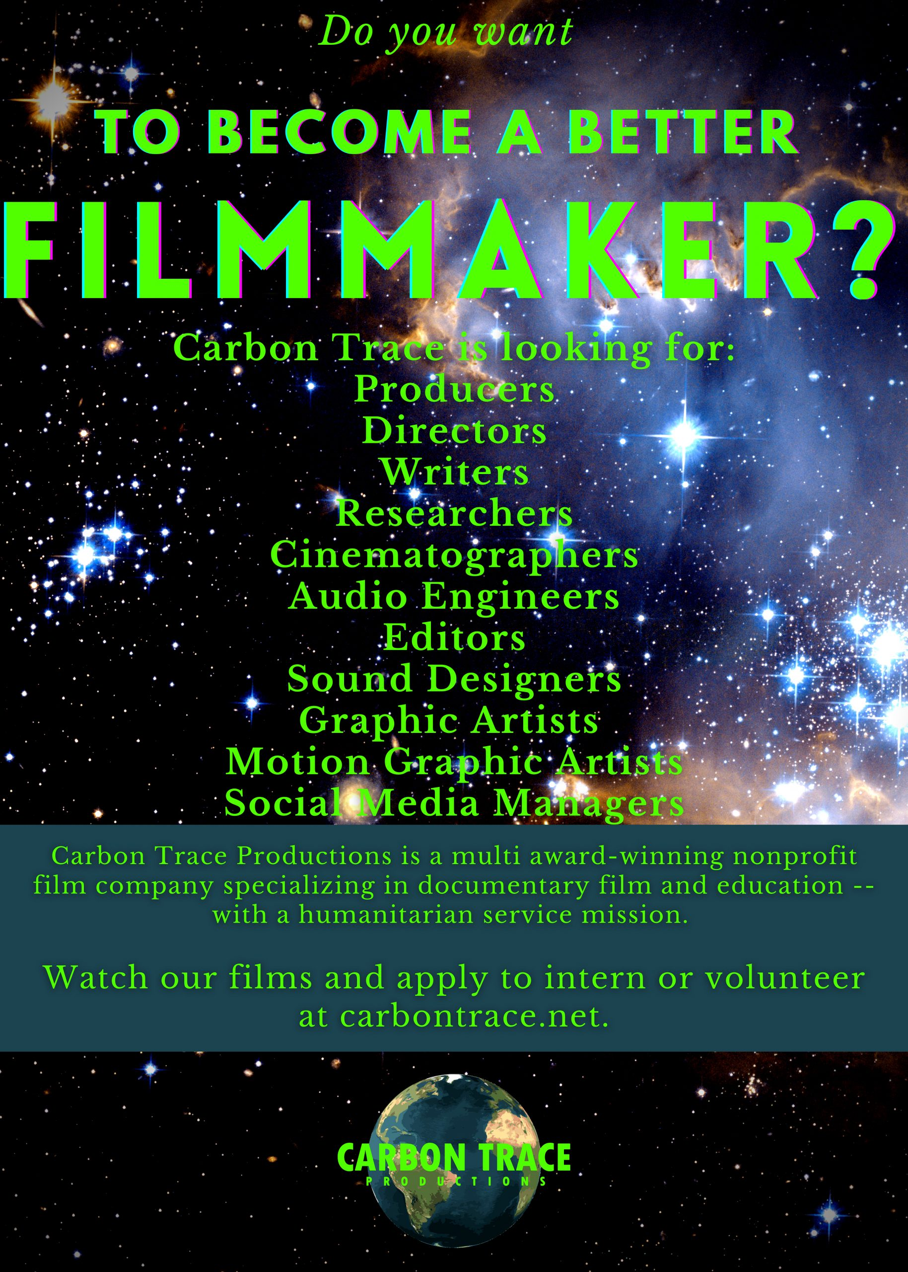 Carbon Trace Looking for Student Filmmakers